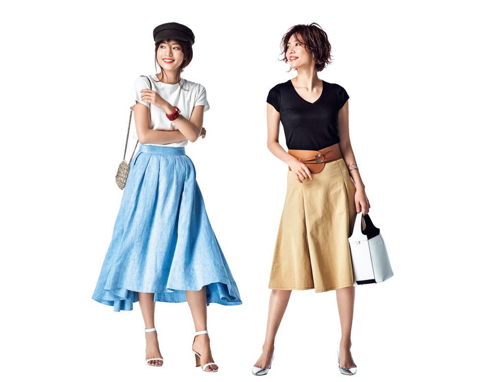 ふんわりスカートの新鮮コーディネート