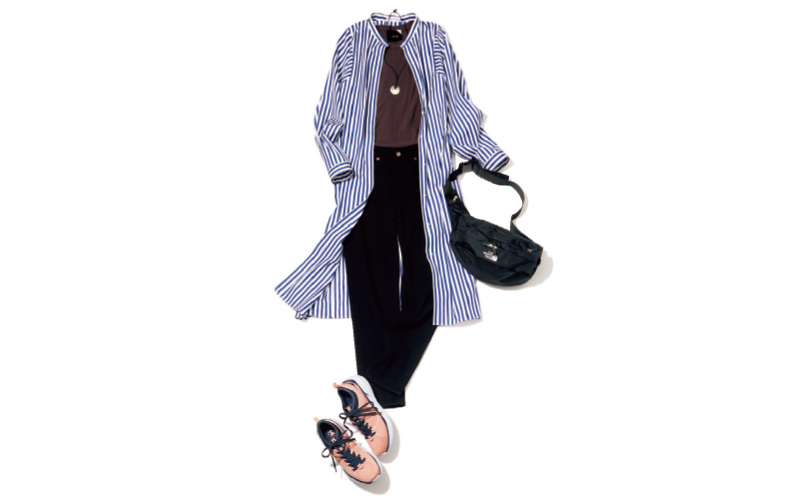 ロングシャツと黒スキニーの辛さに足元のピンクスニーカーでハズしを【今日のコーデ|着回しDiary】