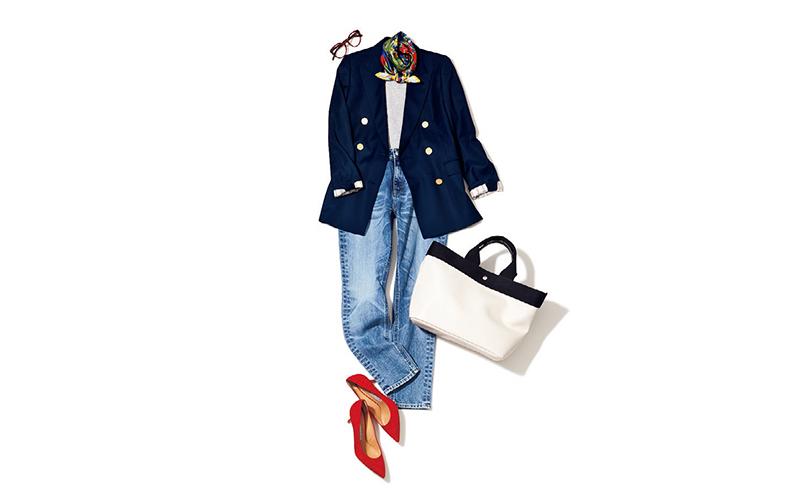紺ブレ×デニムの定番はスカーフや赤パンプスなど可愛げ小物でこなれさせて【今日のコーデ|着回しDiary】