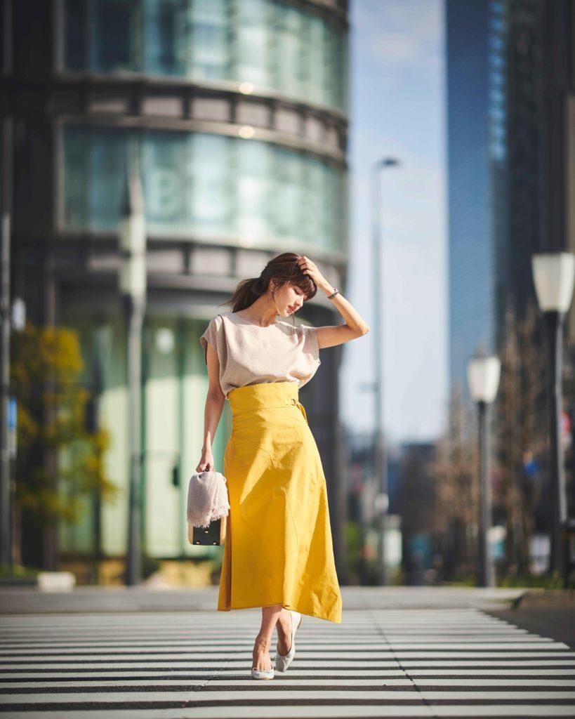 【今日の服装】キレイ色スカートで華やかに目を引いて【アラサー女子】
