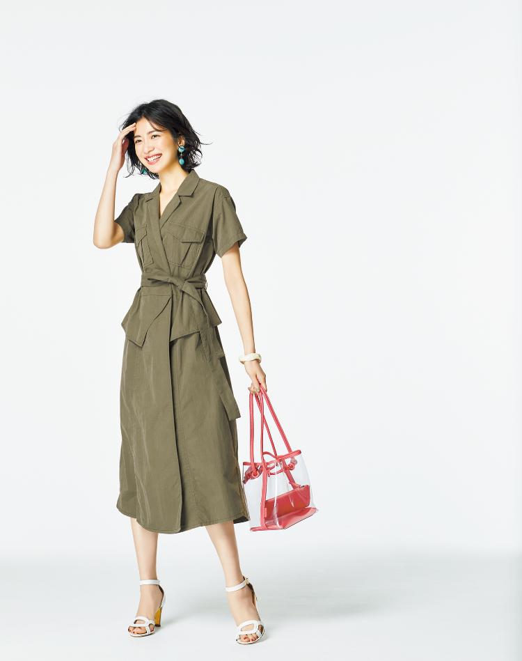 【今日の服装】サファリ調のワンピにクリアバッグを合わせて清涼感を【アラサー女子】
