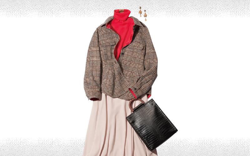 赤×ピンク合わせをチェックジャケットでマイルドに 【今日のコーデ|着回しDiary】
